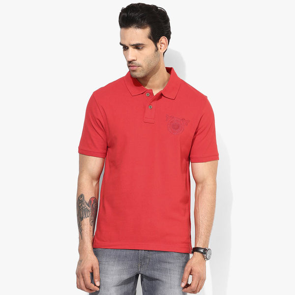 Men's Fat Face Cut Label Stylish Polo Shirt-Light Red-F222