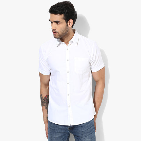 "Men's ""Uneek"" Half  Sleeve Casual Shirt-White-BE421"