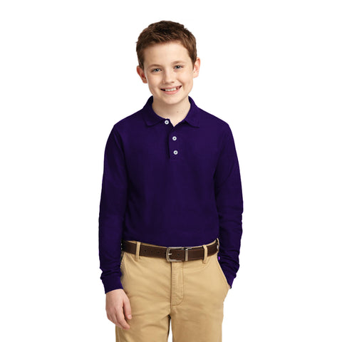 Full Sleeve Polo Shirt For Boys-Purple-BE2270