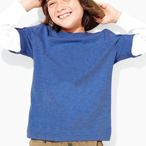 B Quality Next Crew Neck Full Sleeve T Shirt For Kid-Blue & White-BE2057