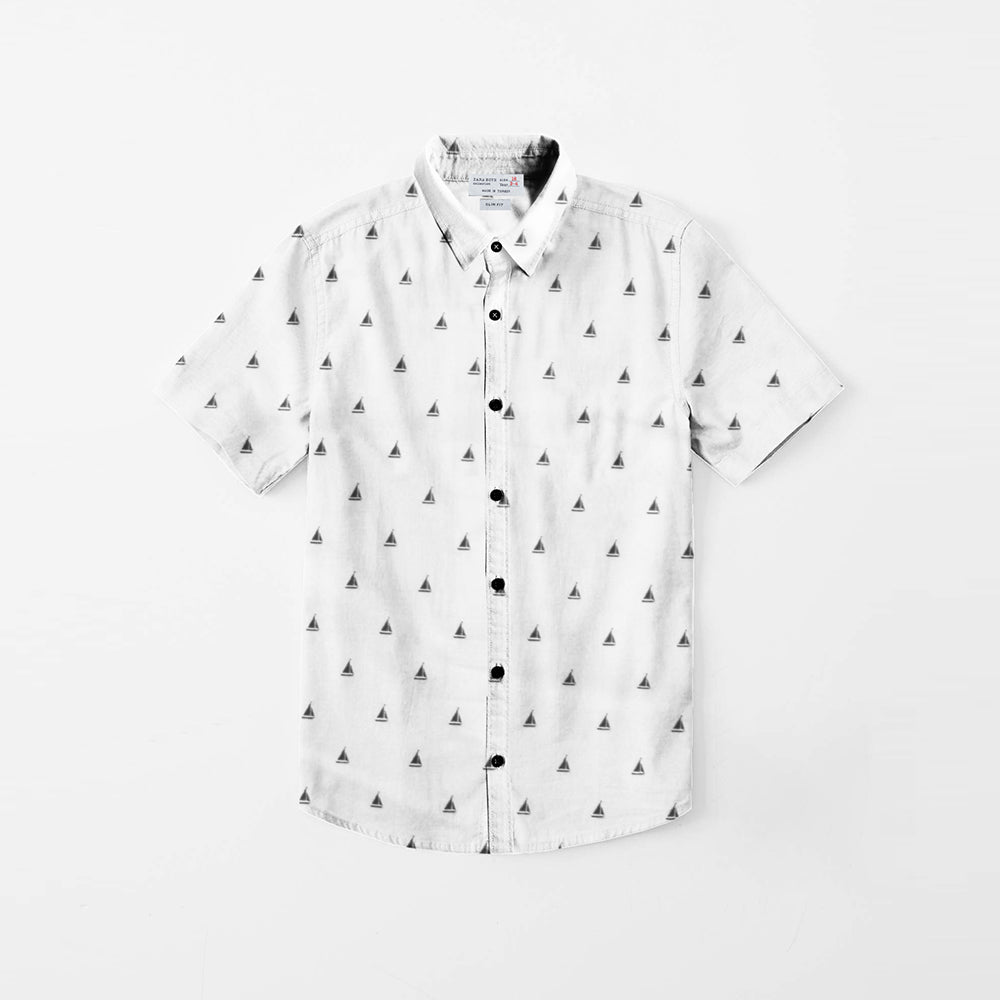 Zara Boys Premium Slim Fit Casual Shirt For Boys-White & Allover Print-NA11569
