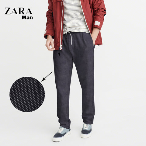 Zara Man Cotton Trouser For Men-All Over Chek Printed-NA1113