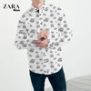 brandsego - Zara Man Long Sleeve All Over Printed Casual Shirt For Men-White-NA583