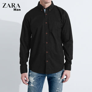 Zara Man Long Sleeve Solid Casual Shirt For Men-Black-NA593