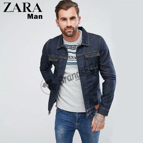 Zara Men Exclusive Denim Jacket For Man-Dark Navy-NA281