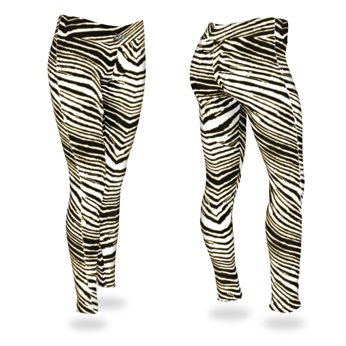 Zubaz Zebra Print Slim Fit Trousers For Ladies-Black/Metallic Gold-NA9257