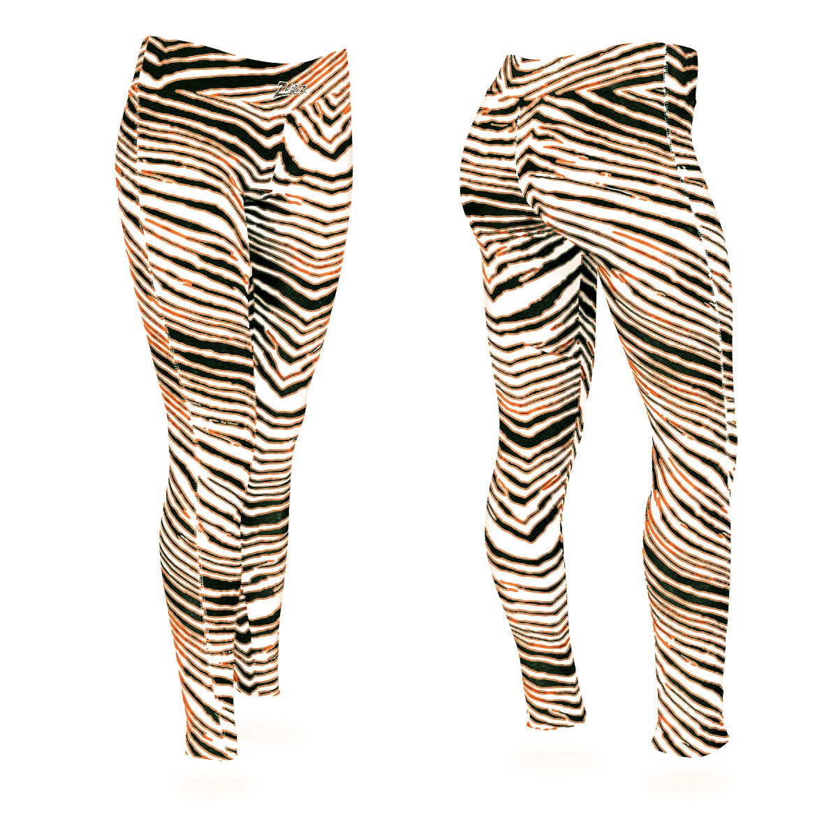 Zubaz Zebra Print Slim Fit Trousers For Ladies-Orange-Green-NA9251