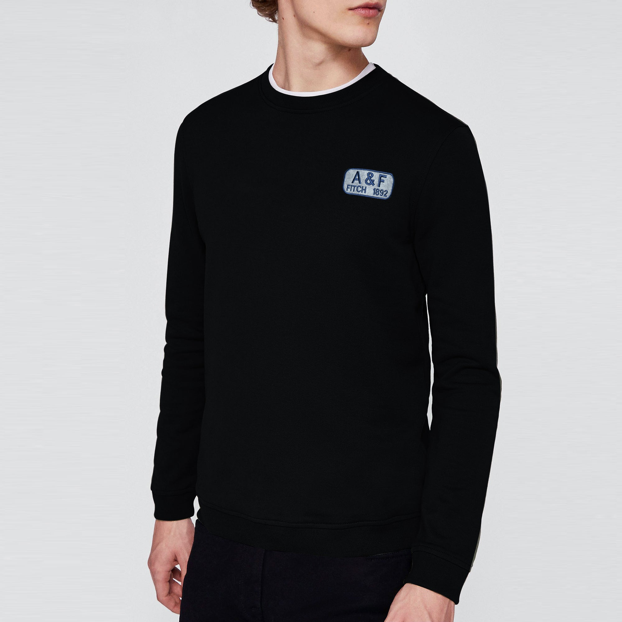 A&F Fleece Crew Neck Sweatshirt For Men-Black-BE6686