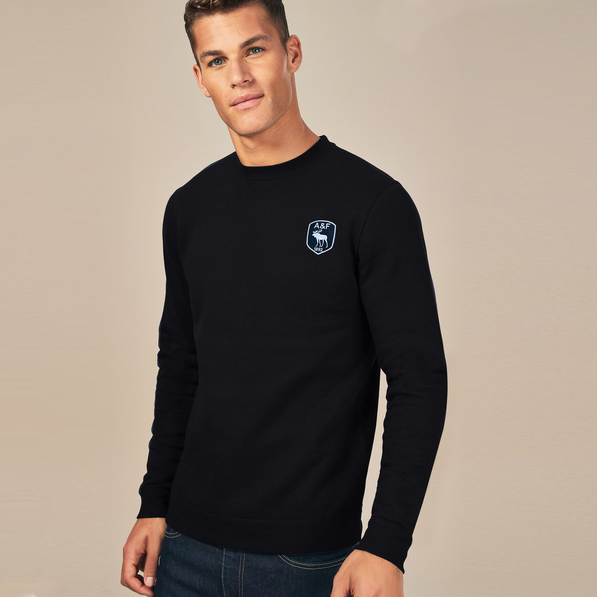 A&F Fleece Crew Neck Sweatshirt For Men-Black-BE7121