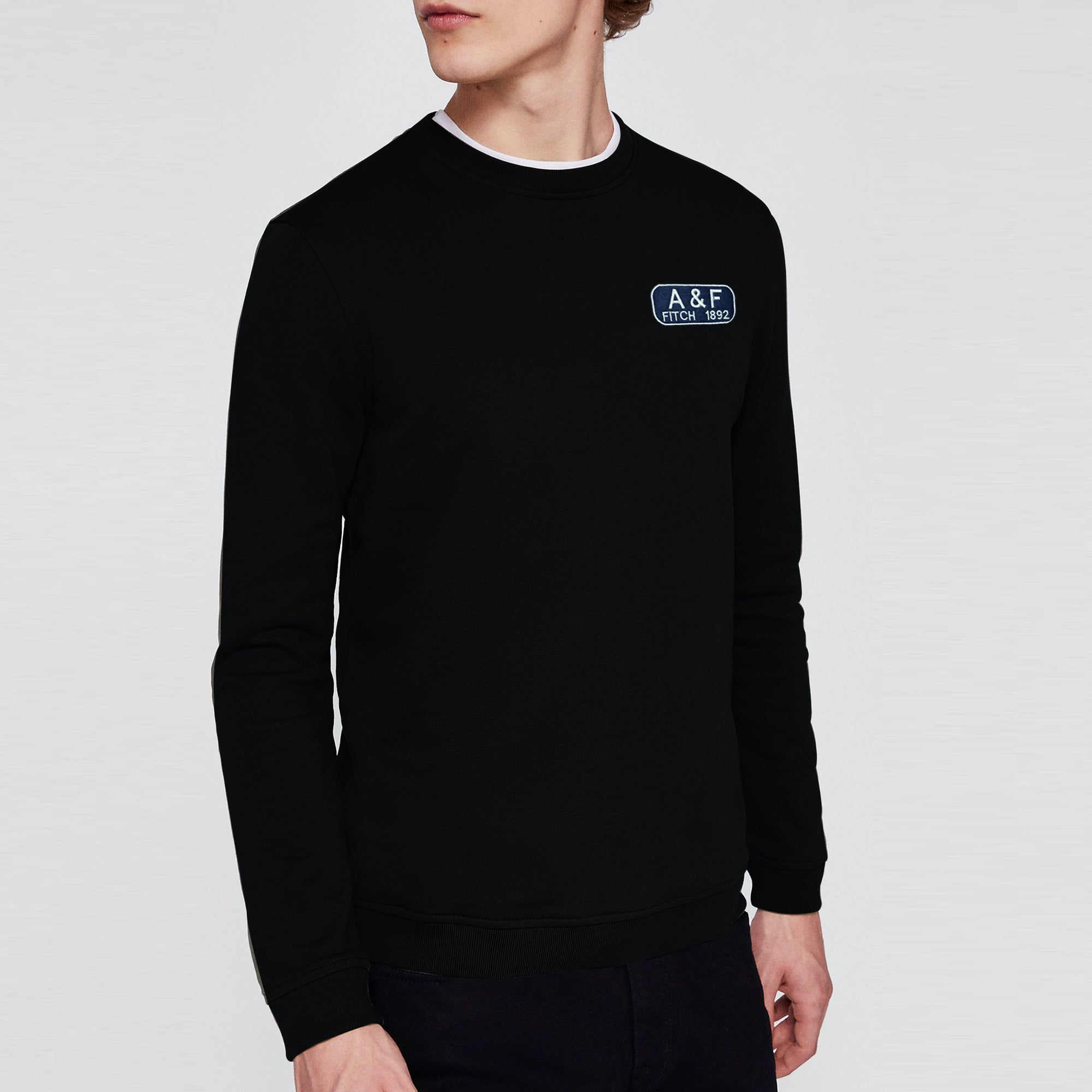 A&F Fleece Crew Neck Sweatshirt For Men-Black-BE7493