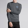 A&F Fleece Crew Neck Sweatshirt Grey & Navy Embroidery For Men-Charcoal Melange-BE6707