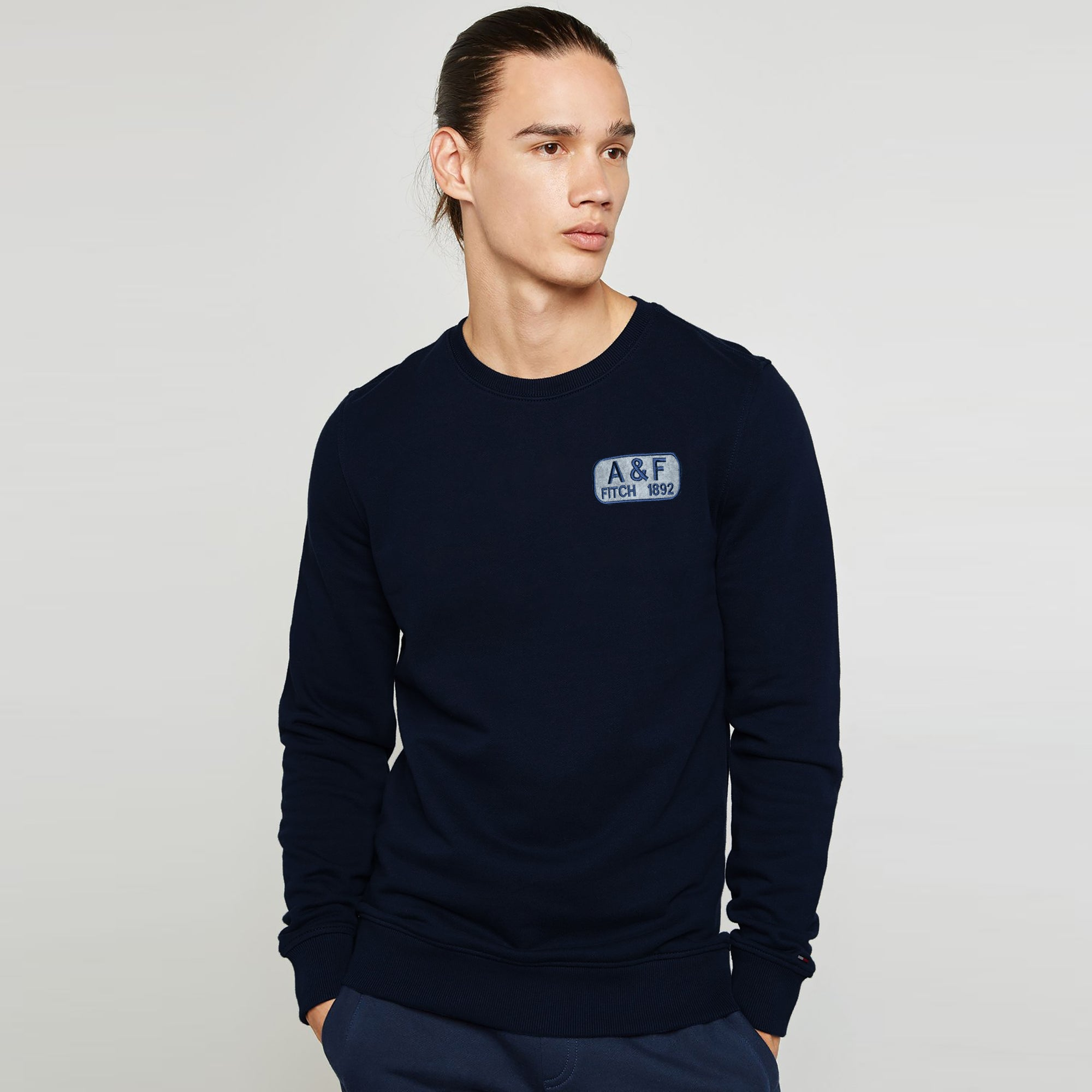 A&F Fleece Crew Neck Sweatshirt For Men-Dark Navy-BE6685
