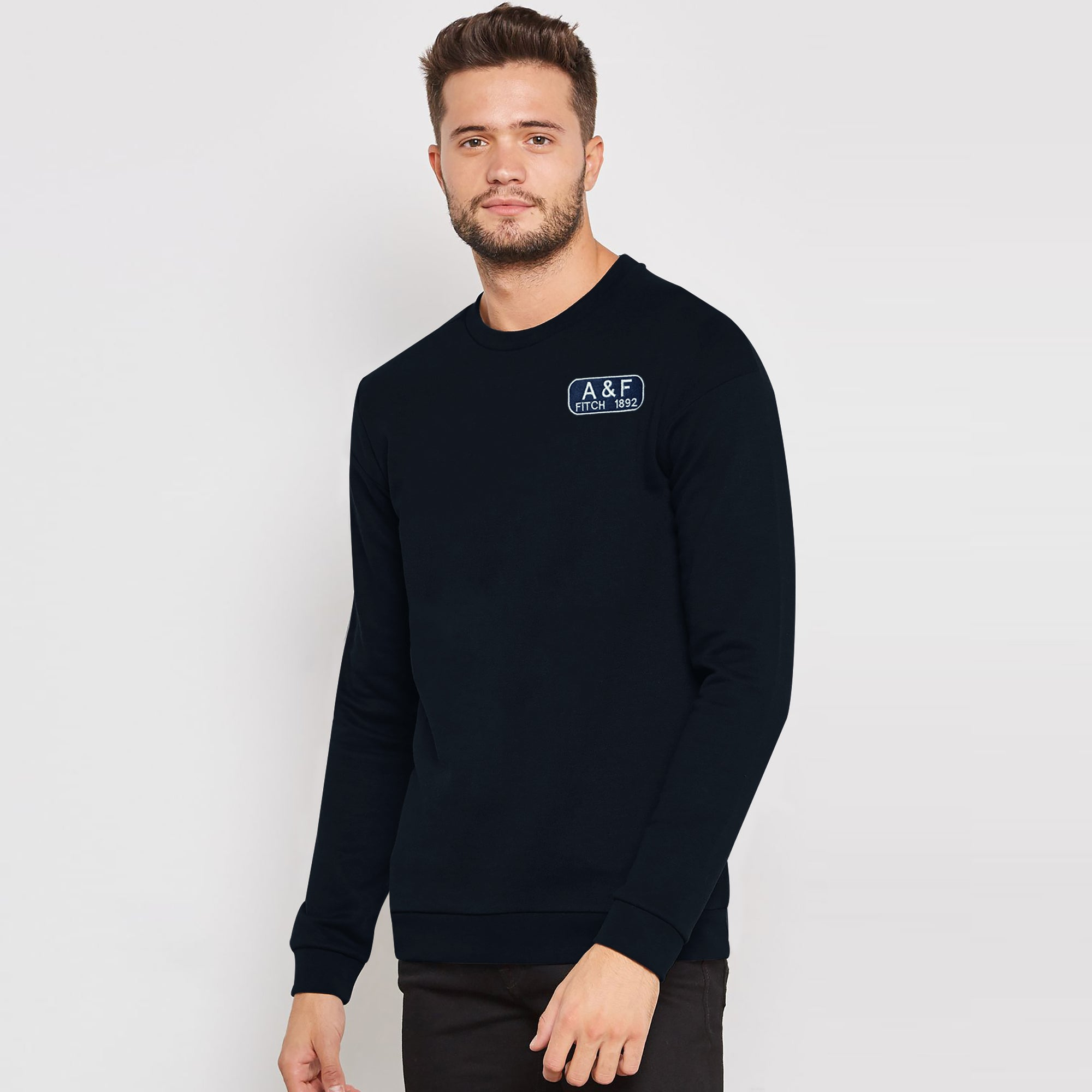 A&F Fleece Crew Neck Sweatshirt For Men-Dark Navy-BE7494