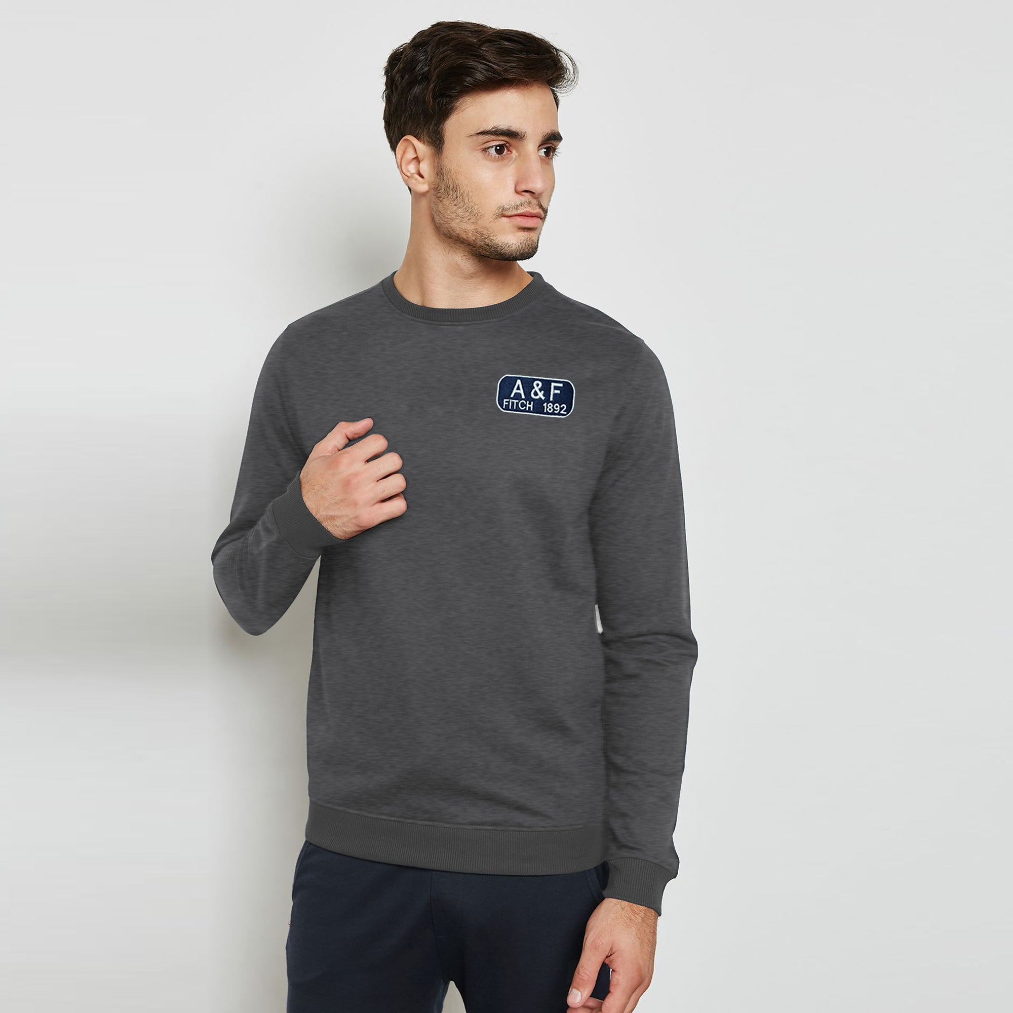 A&F Fleece Crew Neck Sweatshirt White & Navy Embroidery For Men-Charcoal Melange-BE7521