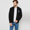 A&F Fleece Full Zipper Mock Neck Jacket For Men-Black-BE6978