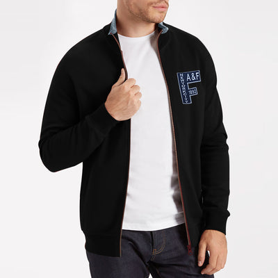 A&F Fleece Full Zipper Mock Neck Jacket For Men-Black-BE7461