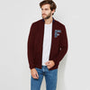 A&F Fleece Full Zipper Mock Neck Jacket For Men-Dark Maroon-BS01