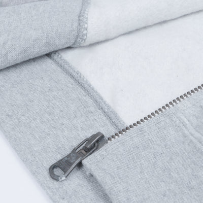 A&F Fleece Full Zipper Mock Neck Jacket For Men-Grey Melange-BE7166