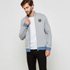 A&F Fleece Full Zipper Mock Neck Jacket For Men-Grey Melange-BE7168