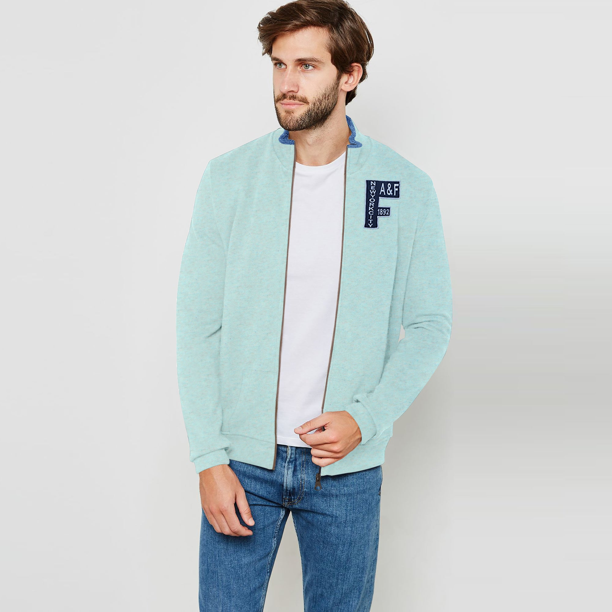 A&F Fleece Full Zipper Mock Neck Jacket For Men-Light Green Melange-BE7500