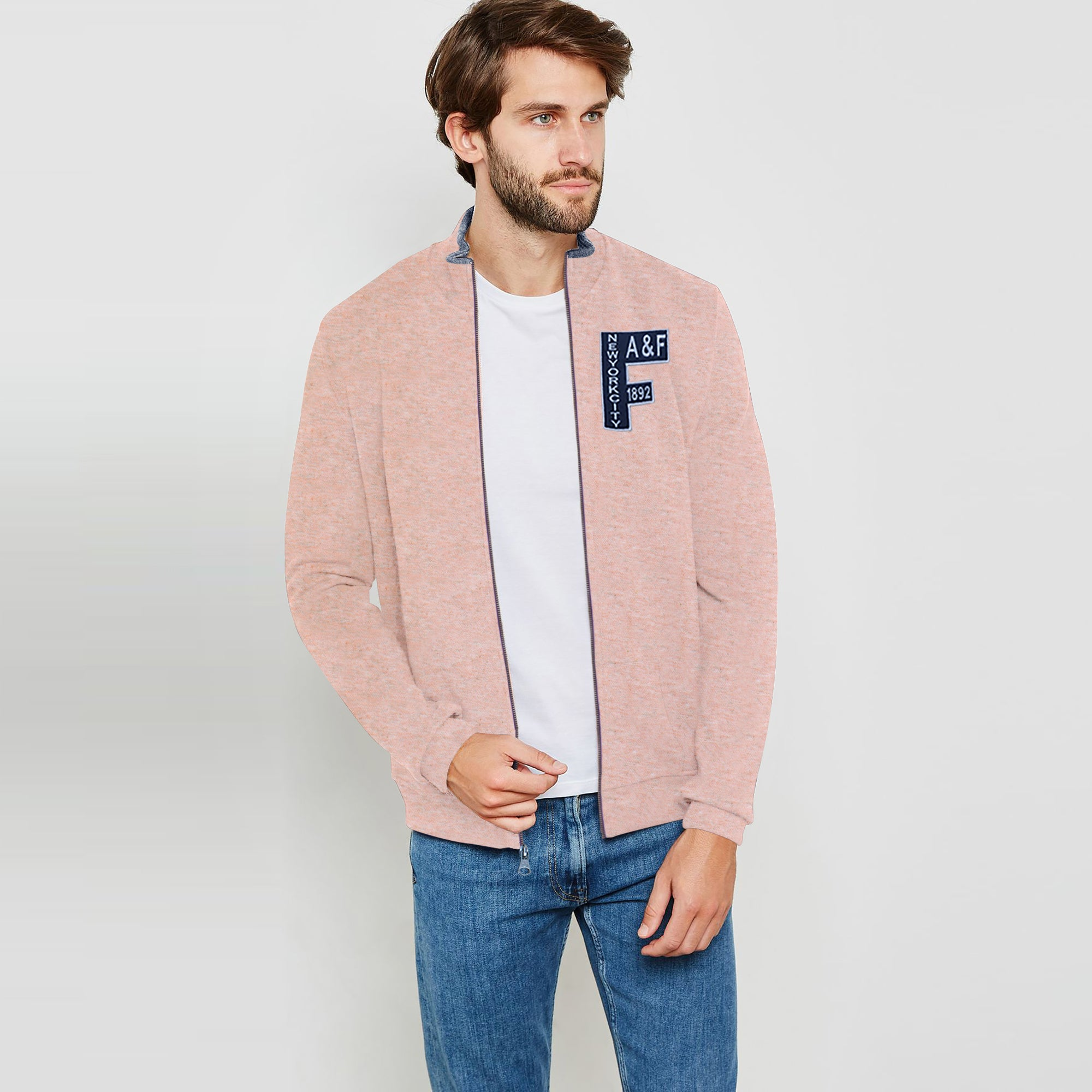 A&F Fleece Full Zipper Mock Neck Jacket For Men-Light Peach Melange-BE7504