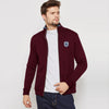 A&F Fleece Full Zipper Mock Neck Jacket For Men-Maroon-BE6974