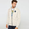 brandsego - A&F Fleece Full Zipper Mock Neck Jacket For Men-Off White Melange-BE7246