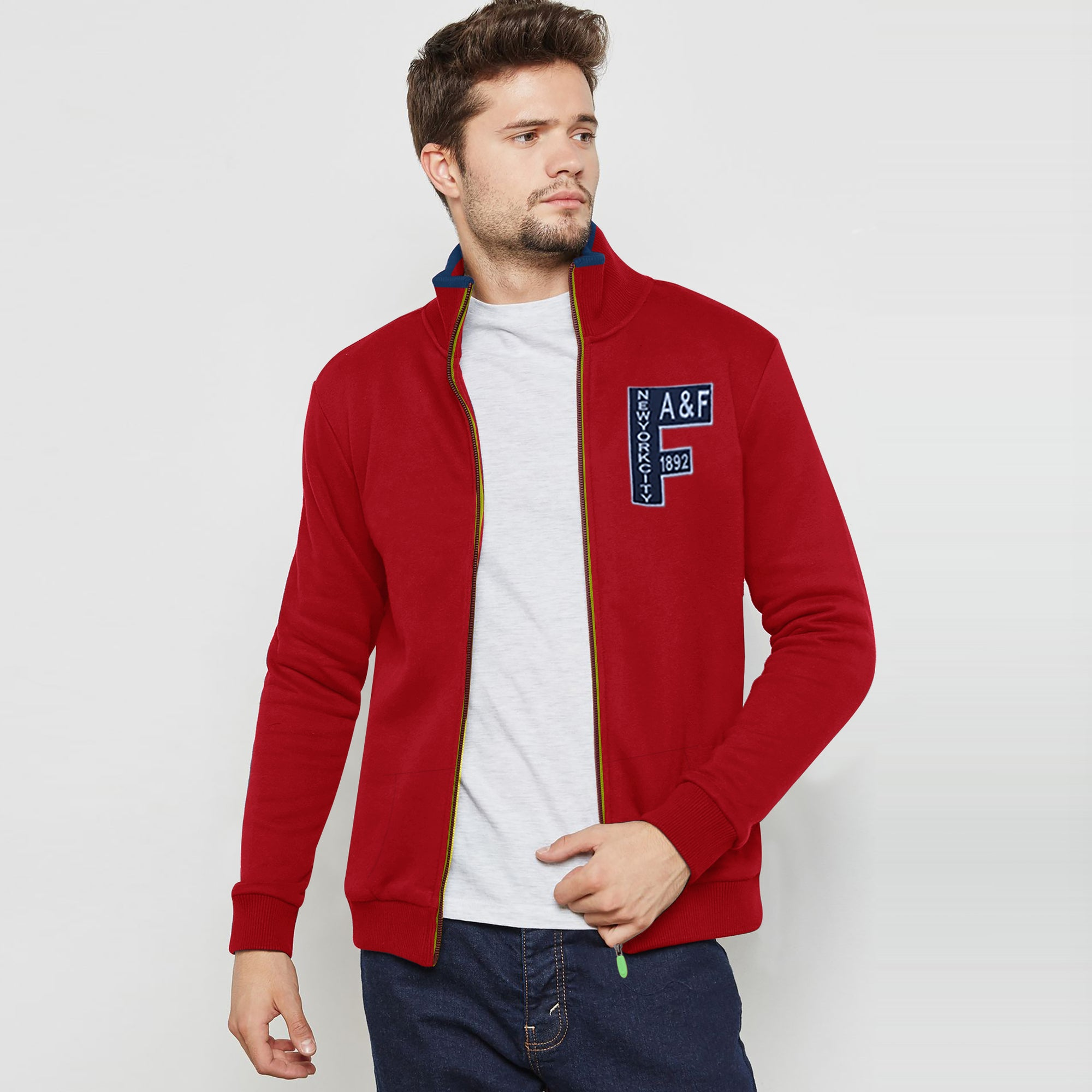 A&F Fleece Full Zipper Mock Neck Jacket For Men-Red-BE7496