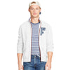 A&F Fleece Full Zipper Mock Neck Jacket For Men-White-BE7503
