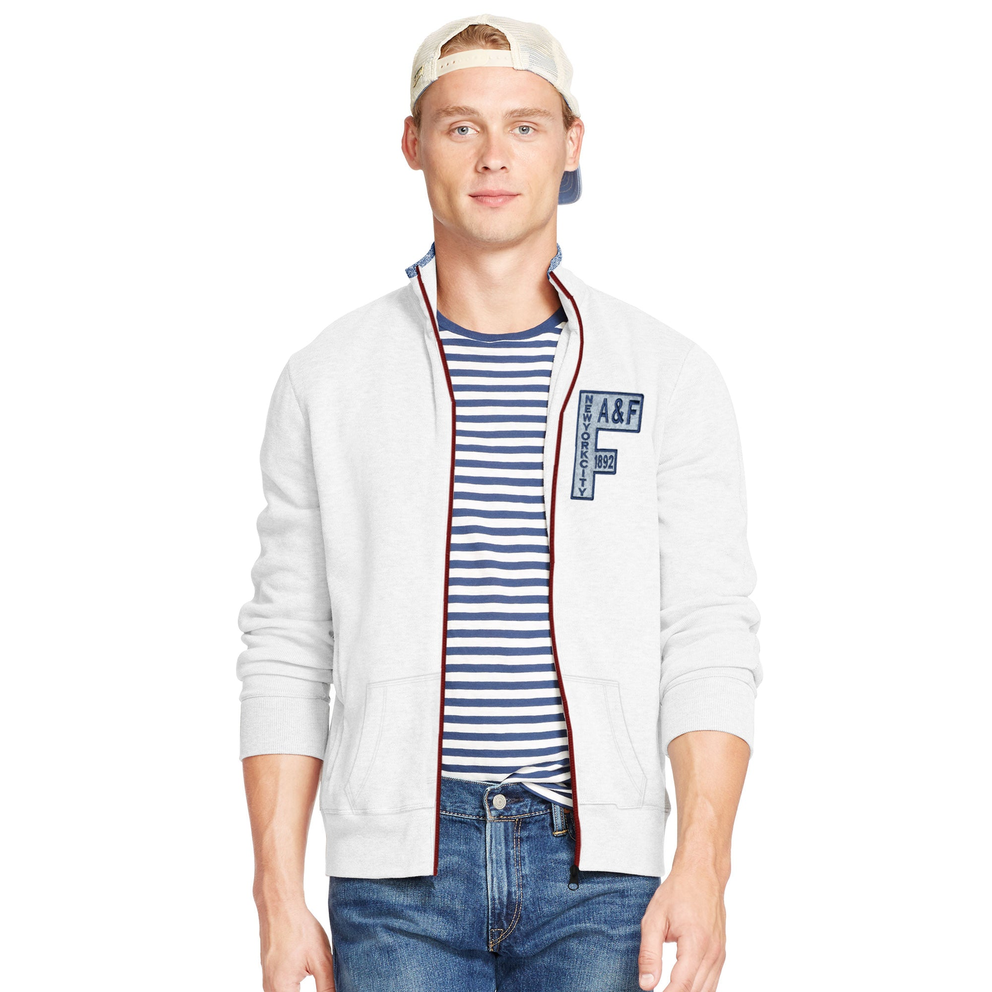 brandsego - A&F Fleece Full Zipper Mock Neck Jacket For Men-White-BE7503