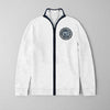 A&F Fleece Full Zipper Mock Neck Jacket For Men-White With Melange-BE7916