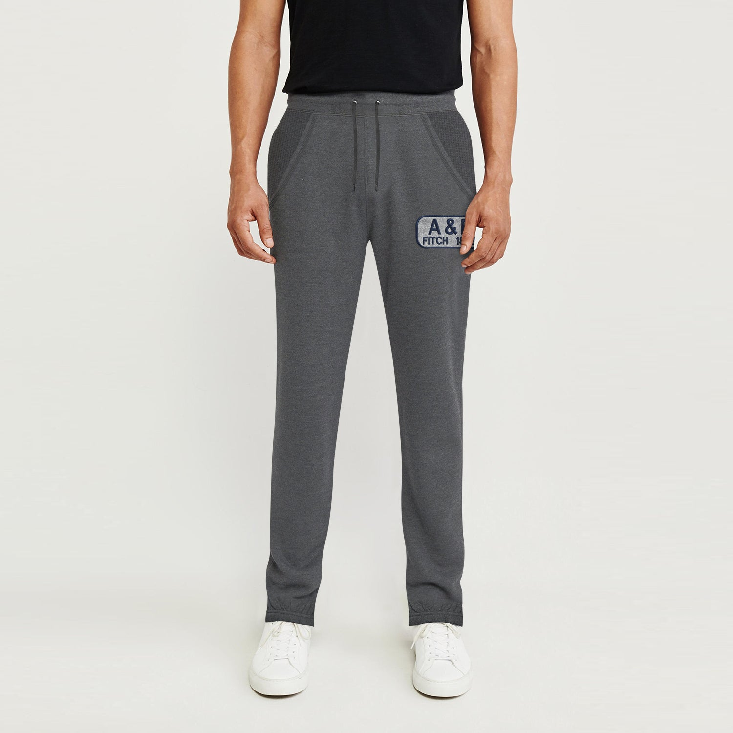 A&F Fleece Navy & Grey Embroidery Slim Fit Gathering Bottom Jogger Trouser For Men-Charcoal Melange-BE9720