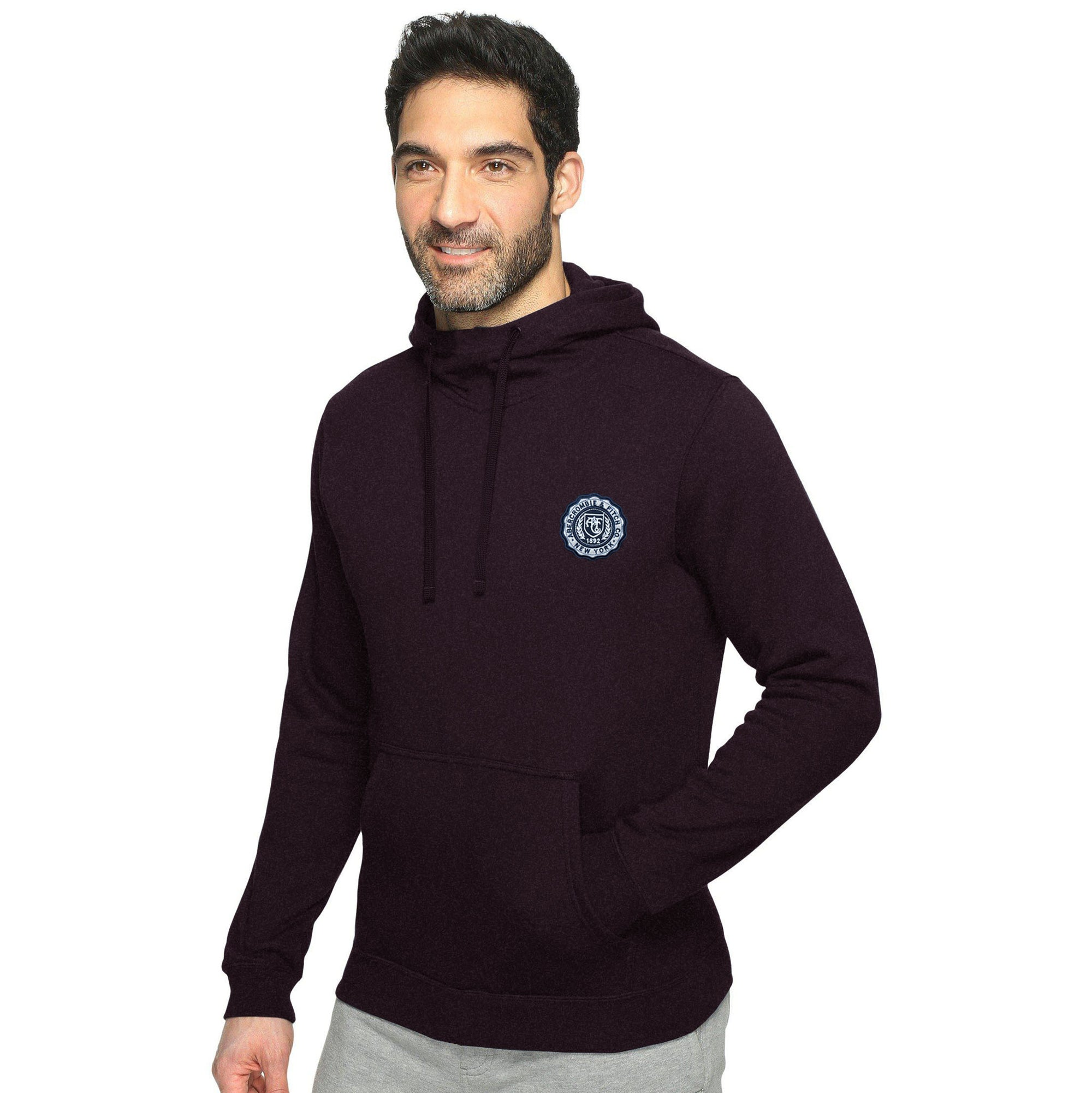 A&F Fleece Pullover Hoodie For Men-Dark Maroon Melange-BE6636