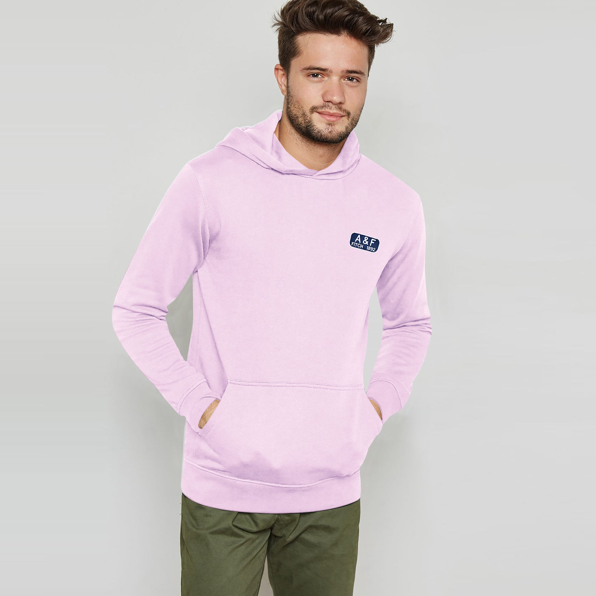 brandsego - A&F Terry Fleece Pullover Hoodie For Men-Light Pink-BE6726