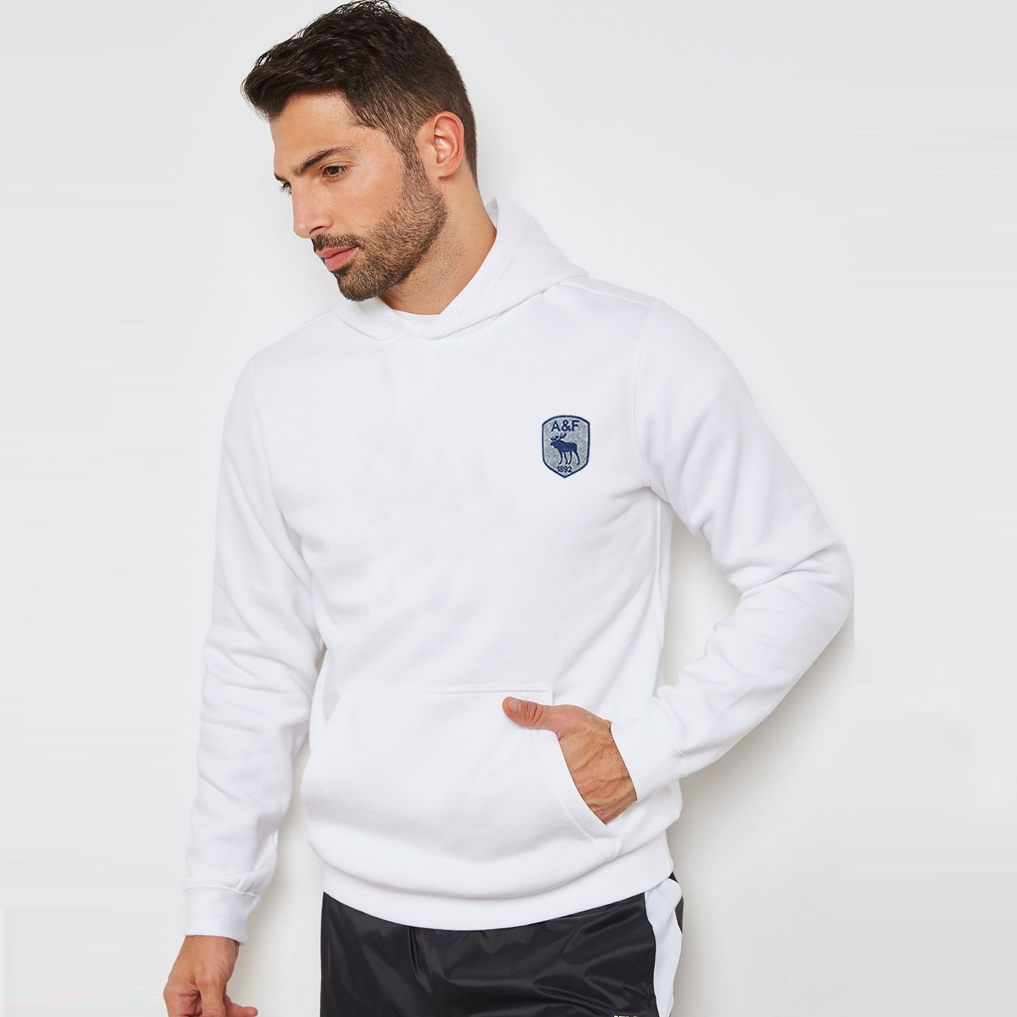 A&F Fleece Pullover Hoodie For Men-White-BE7119