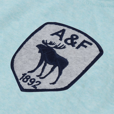 A&F Fleece Pullover Hoodie Navy & Grey Embroidery For Men-Cyan Green Melange-BE7242