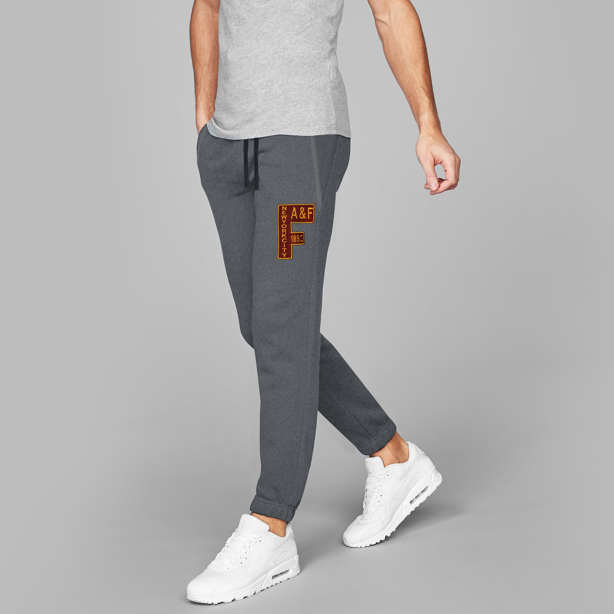 A&F Fleece Slim Fit Gathering Bottom Jogger Trouser For Men-Charcoal Melange-BE7848
