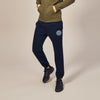 A&F Fleece Slim Fit Gathering Bottom Jogger Trouser Navy & White Embroidery For Men-Dark Navy-BE6760