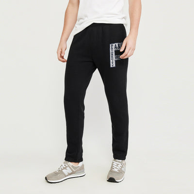 A&F Fleece Slim Fit Gathering Bottom Jogger Trouser For Men-Black-BE7536