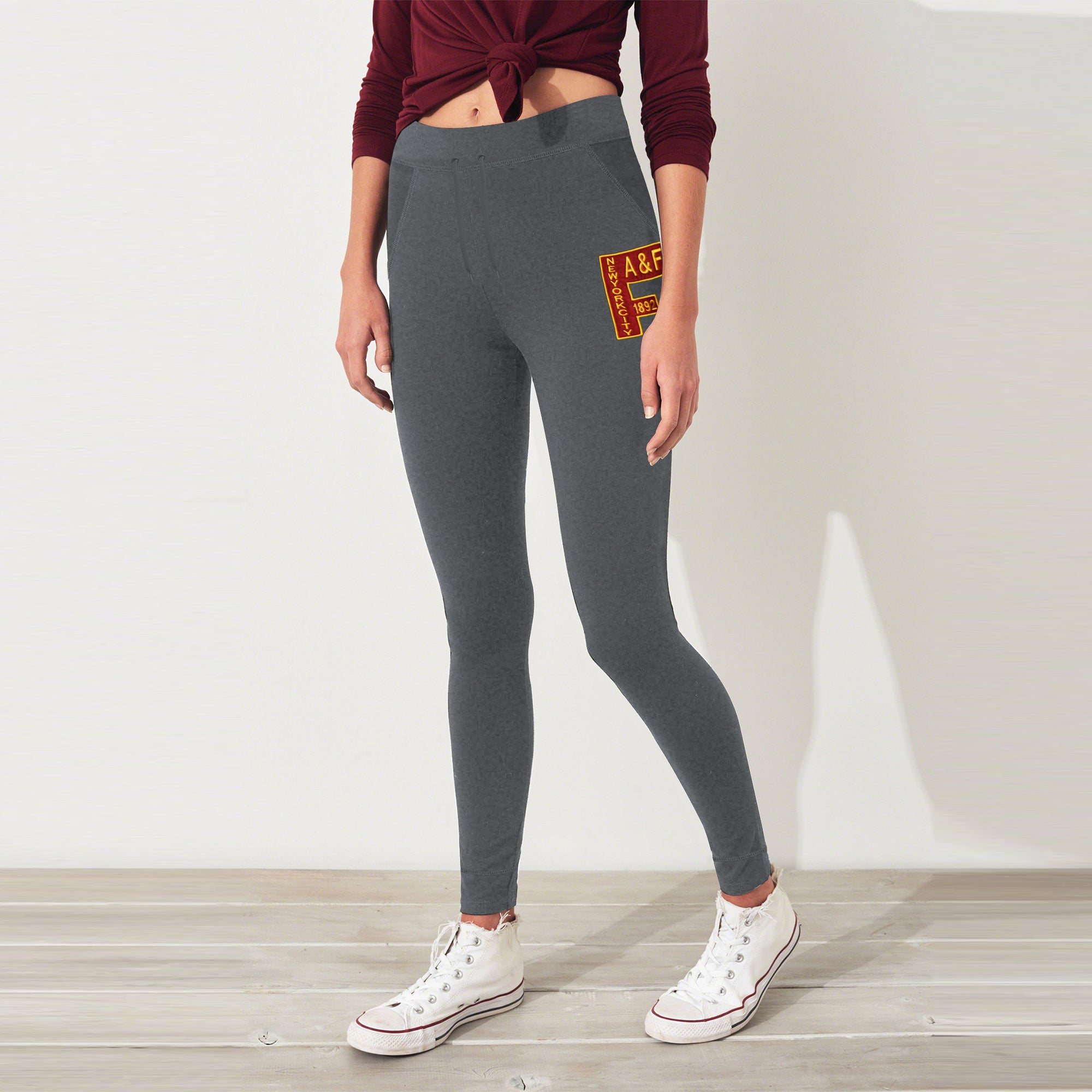 A&F Fleece Slim Fit Jogger Trouser Navy & Maroon Embroidery For Ladies-Charcoal Melange-BE7512