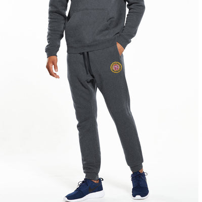 A&F Fleece Slim Fit Jogger Trouser Navy & Maroon Embroidery For Men-Charcoal Melange-BE7114