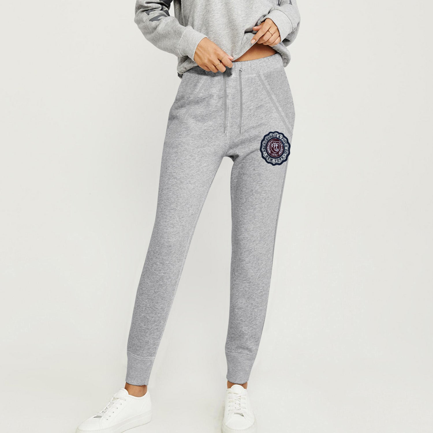 A&F Fleece Slim Fit Navy Maroon & Grey Embroidery Jogger Trouser For Ladies-Grey Melange-BE9731