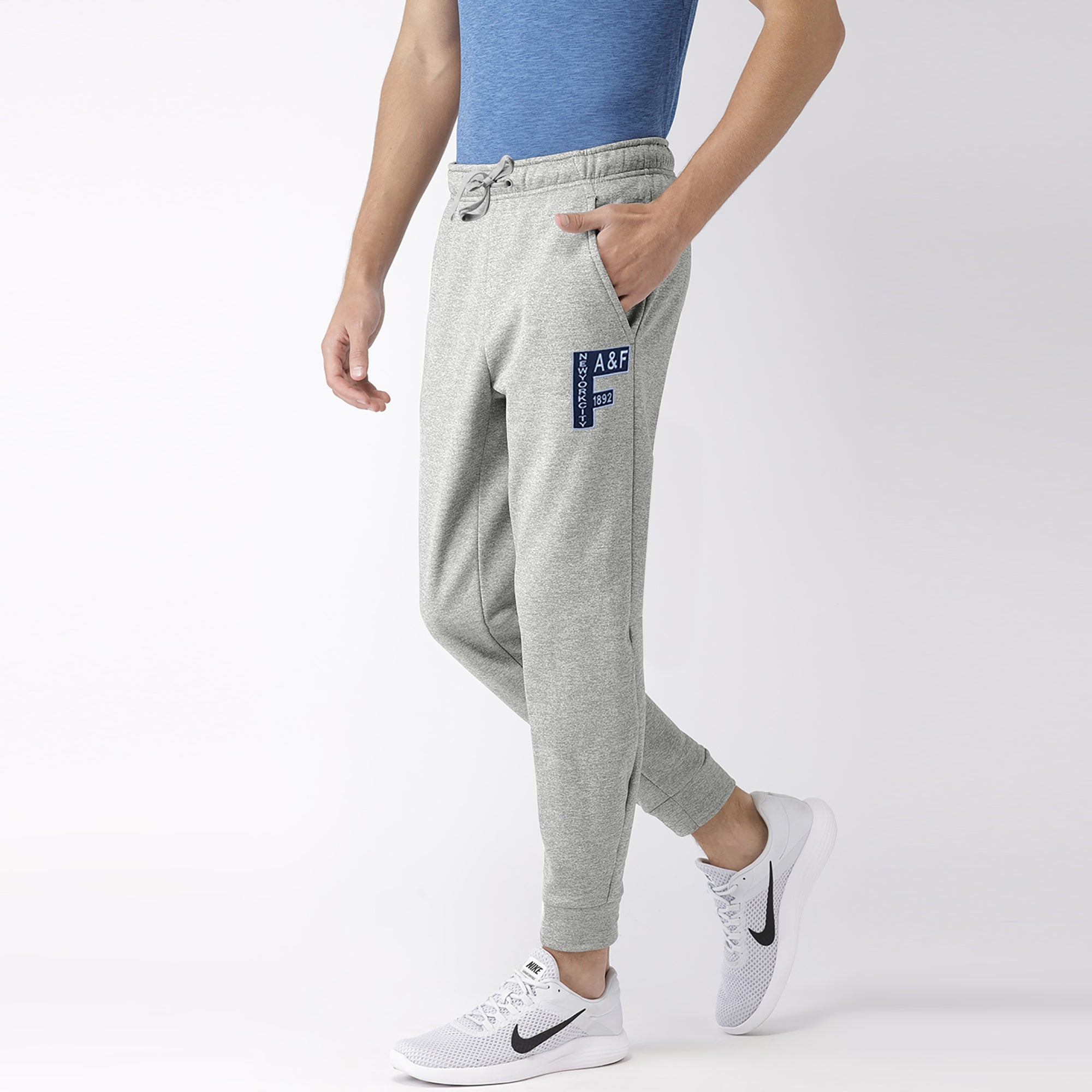 brandsego - A&F Fleece Slim Fit Rib Bottom Jogger Trouser For Men-Grey Melange-BE7458