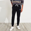 A&F Fleece Slim Fit Rib Bottom Jogger Trouser Grey & Navy Embroidery For Men-Black-BE7118