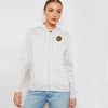 A&F Fleece Zipper Hoodie For Ladies-White Melange-BE7169