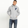 A&F Fleece Zipper Hoodie For Men-Grey Melange-BE7530