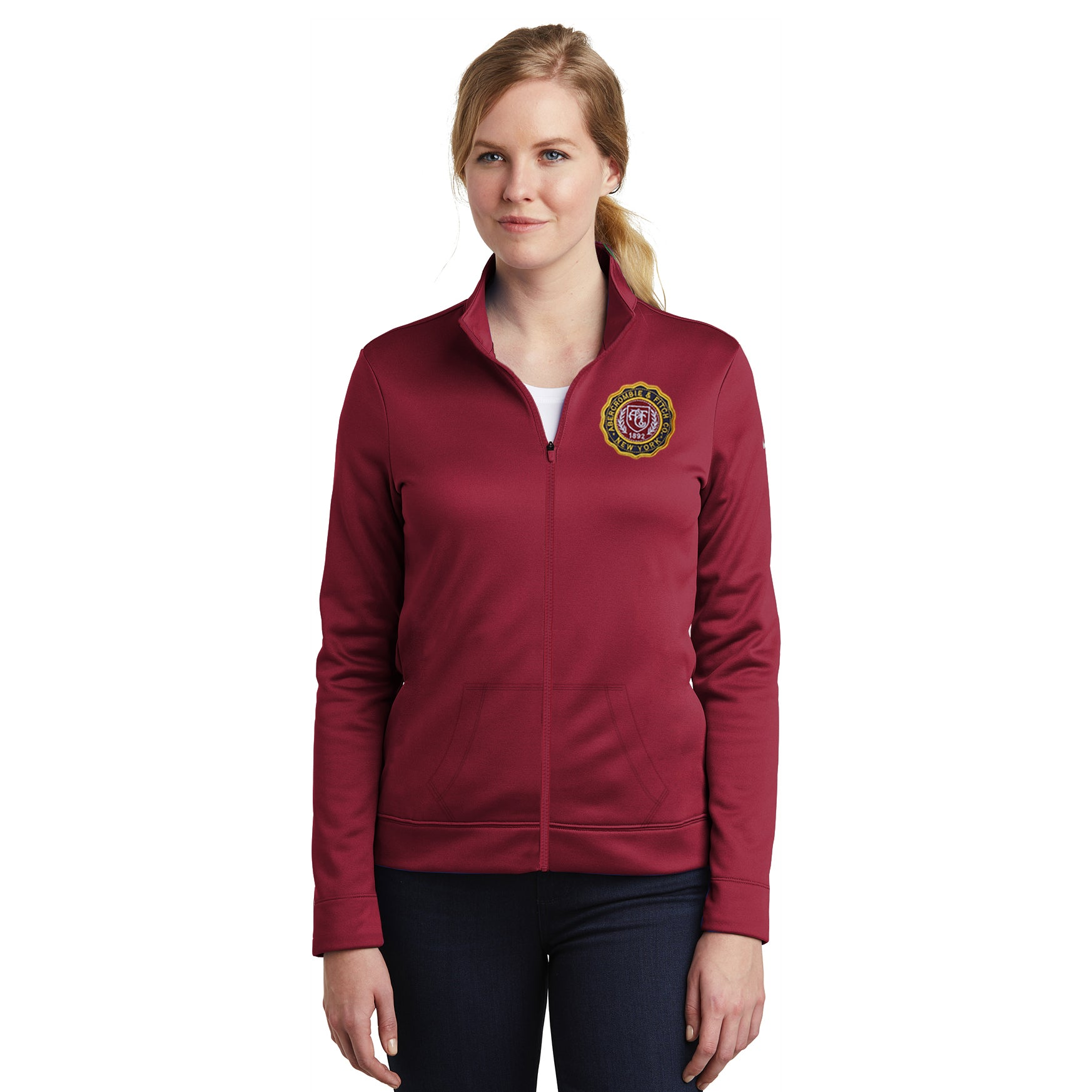 A&F Fleece Zipper Mock Neck Navy & Maroon Embroidery For Ladies-Dark Red-BE7517