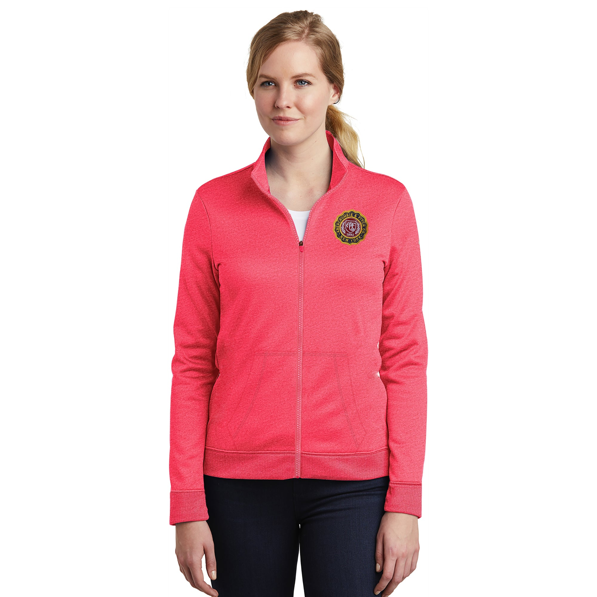 A&F Fleece Zipper Mock Neck Navy & Maroon Embroidery For Ladies-Pink Melange-BE7518
