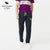 A&F Regular Fit Single Jersey Trouser For Men-Navy Melange With White Embroidery-NA1194