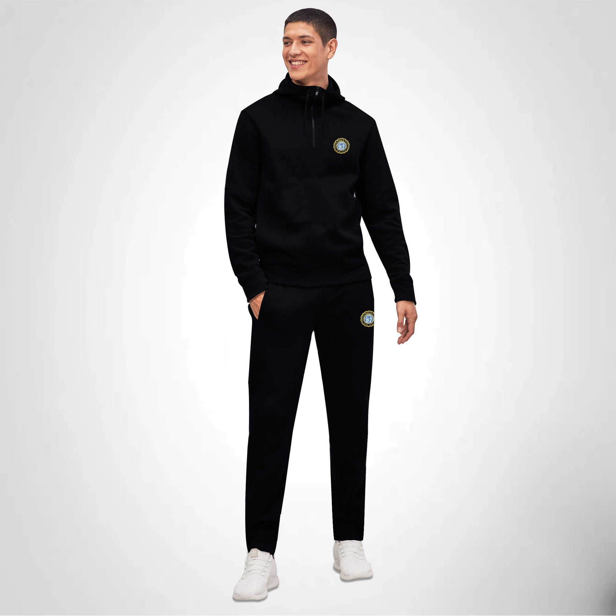 0496f57db6959 A F Slim Fit 1 4 Zip Straight Fit Fleece Track Suit For Men-Black-BE66 -  BrandsEgo